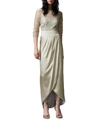 Kay Unger Three Quarter Sleeve Lace Bodice Column Gown Champagne