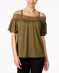 Cable And Gauge Cold Shoulder Top Winter Moss