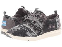 Toms Del Rey Sneaker Grey Tribal Wool Women's Lace Up Casual Shoes Gray