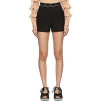 Red Valentino Black Embroidered Scallop Shorts