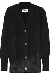 Maison Martin Margiela Mm6 Metallic Cable Knit Wool Blend Cardigan Black