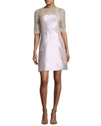 Marchesa Embroidered Half Sleeve A Line Cocktail Dress Pink Silver Pink Silver