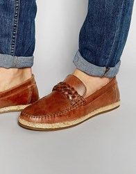 Asos Loafers In Tan Leather With Jute Wrap Sole Tan