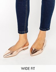 Asos Lacey Wide Fit Pointed Ballet Flats Nude Metallic Beige