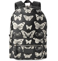 Alexander Mcqueen Leather Trimmed Moth Print Twill Backpack Black