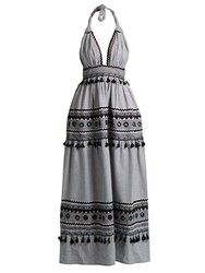 Dodo Bar Or David Halterneck Cotton Maxi Dress Black White