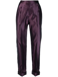 Tom Ford Rolled Hem Tailored Trousers Purple