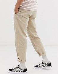 Topman Straight Leg Chinos With Chain In Stone