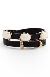 Alexis Bittar Women's Stone Leather Wrap Bracelet Black