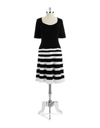 Anne Klein Striped Fit And Flare Dress Black