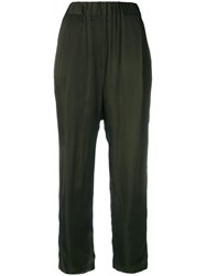 Damir Doma Stretch Waist Cropped Trousers Green