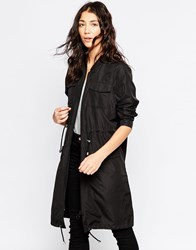 Brave Soul Long Line Jacket With Drawstring Waist Black