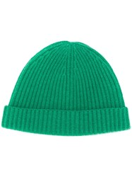 N.Peal Ribbed Cashmere Beanie Green