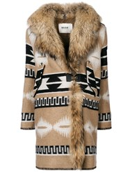 Bazar Deluxe Printed Coat With Faux Fur Collar Polyamide Virgin Wool Brown