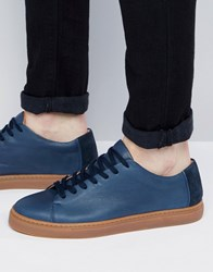 Selected Homme David Leather Trainers Navy Black