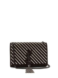 Saint Laurent Kate Crystal Embellished Suede Cross Body Bag Black Silver
