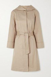 Maje Hooded Belted Cotton Coat Camel