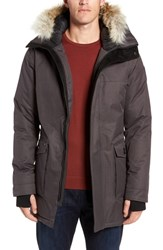 Nobis Yves Windproof And Waterproof 650 Fill Power Down Parka With Genuine Coyote Fur Trim Steel Grey