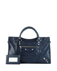Balenciaga Giant 12 City Lambskin Satchel Bag Navy Blue
