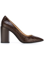Paul Smith Ps By 'Lin' Crocodile Effect Pumps Brown