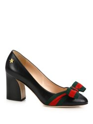 Gucci Aline Grosgrain Bow And Leather Block Heel Pumps Red Black
