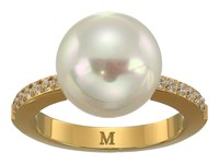 Majorica 12Mm Round Pearl Yellow Plated Ring With 1.25Mm Of Cz Accents White Ring