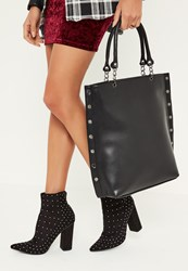 Missguided Black Studded Edge Tote Bag