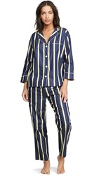 Sleepy Jones Marina Pj Set Collegiate Stripe Navy Yellow