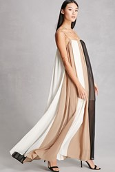 Forever 21 Line And Dot Maxi Dress Tan Cream
