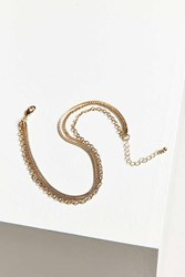 Urban Outfitters Triple Chain Choker Necklace Gold