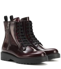 Prada Leather Ankle Boots Red