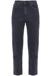 Mcq By Alexander Mcqueen Woman Cropped High Rise Slim Leg Jeans Charcoal