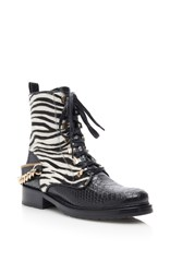 Lanvin Printed Zebra And Shiny Python Lace Up Boots Black White