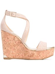 Jimmy Choo 'Portia' Cork Wedges Women Calf Leather Leather Rubber 37 Nude Neutrals