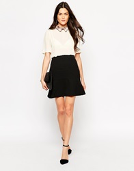Jovonna Mystic Midi Skirt With Fluted Hem Black