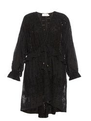 Zimmermann Harlequin Cotton And Silk Blend Dress Black