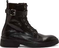 Cnc Costume National Black Leather Buckle Combat Boots