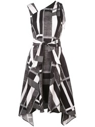 Josie Natori Taisho Stripe Belted Dress Black
