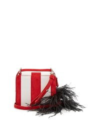 Marques Almeida Feather Strap Striped Leather Cross Body Bag Red Stripe