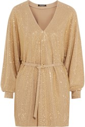 Balmain Studded Stretch Jersey Mini Dress Gold