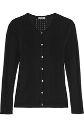 Nina Ricci Pointelle Knit Wool Cardigan Black