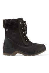 Sorel Whistler Wool Trimmed Waterproof Leather Ankle Boots Black
