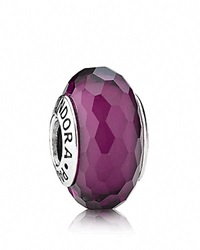 Pandora Design Pandora Charm Murano Glass Purple Fascinating Moments Collection Silver Purple