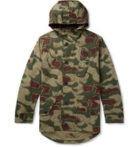 Ten C Camouflage Print Cotton Canvas Hooded Jacket Army Green