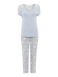 Linea Vintage Floral Mixed Fabric Pj Set Heather