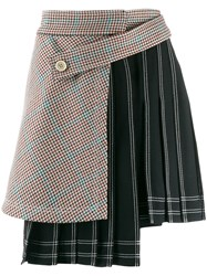 Off White Houndstooth Panel Pinstriped Skirt Black
