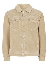 Topman Brown Stone Corduroy Faux Shearling Collar Jacket
