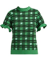 Shrimps Fio Checked Wool Blend Sweater Green Multi