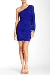 City Triangles One Shoulder Bodycon Homecoming Dress Blue