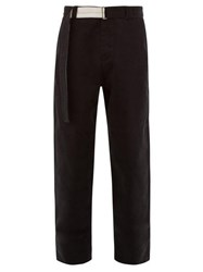 Rochas Belted Brushed Cotton Tailored Trousers Black